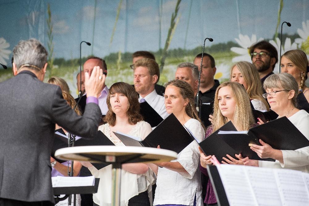 Choral singers preparing to sing