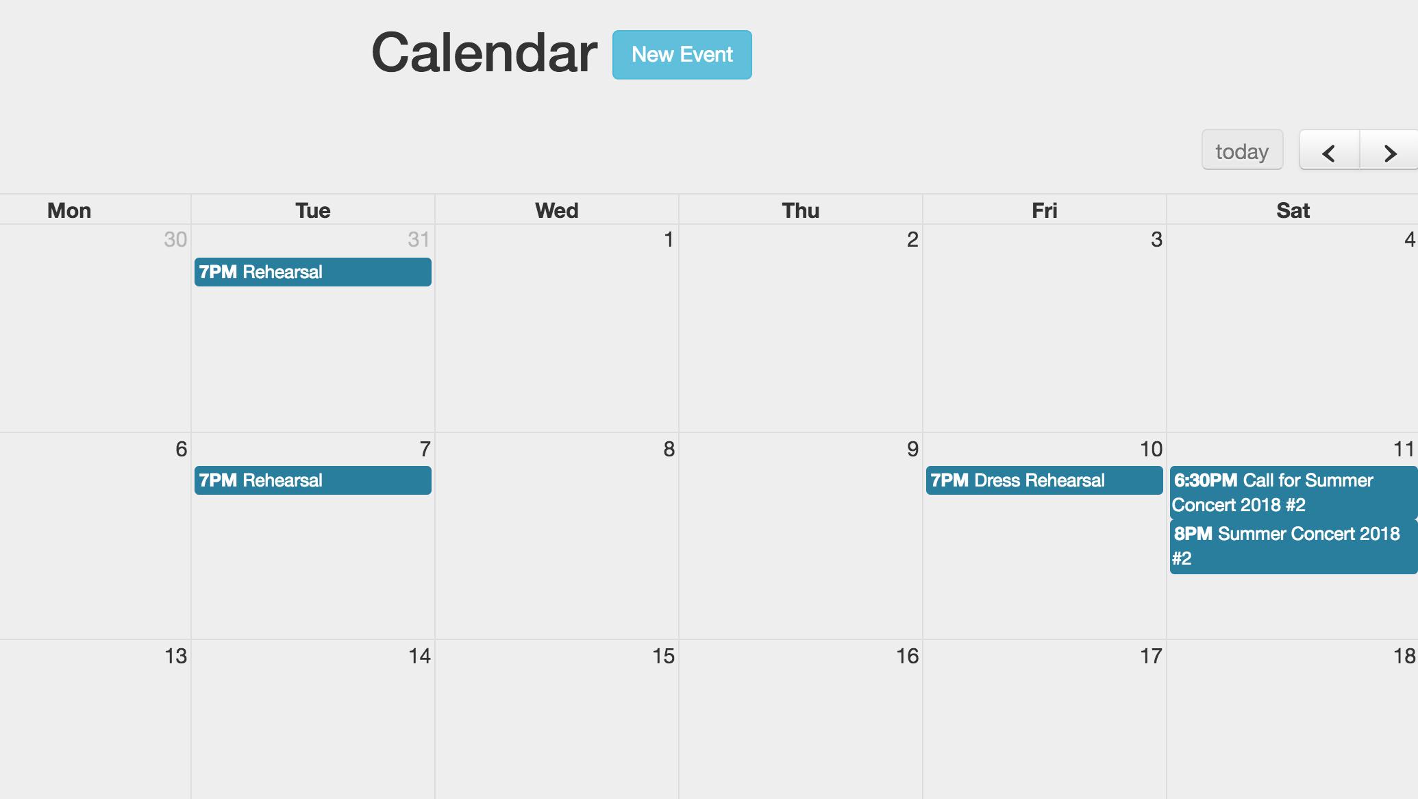 Chorus Connection calendar