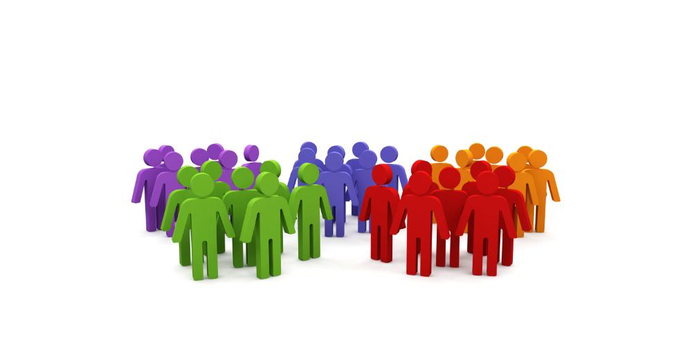 Segmented groups of people