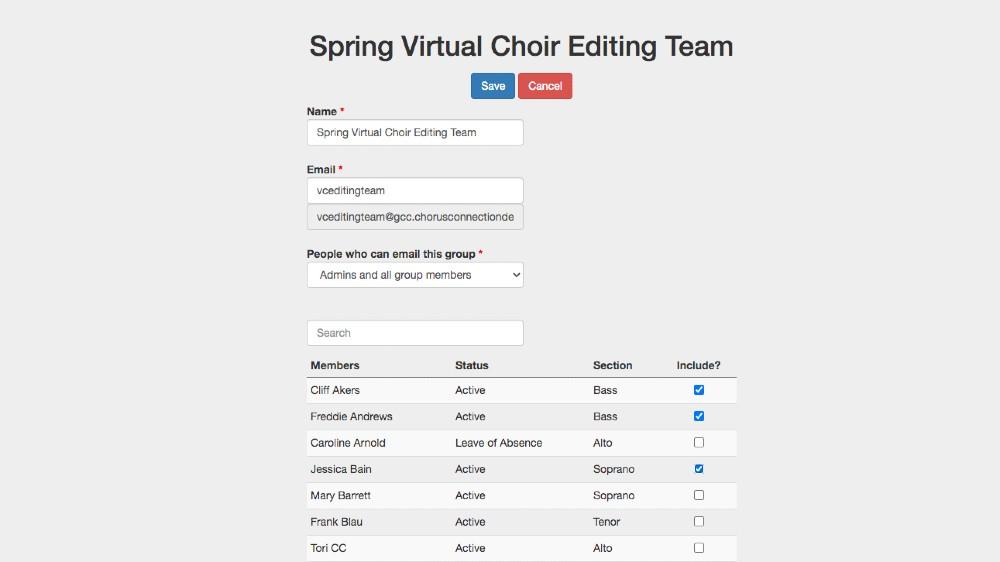 Group in Chorus Connection for Virtual Choir Editing Team