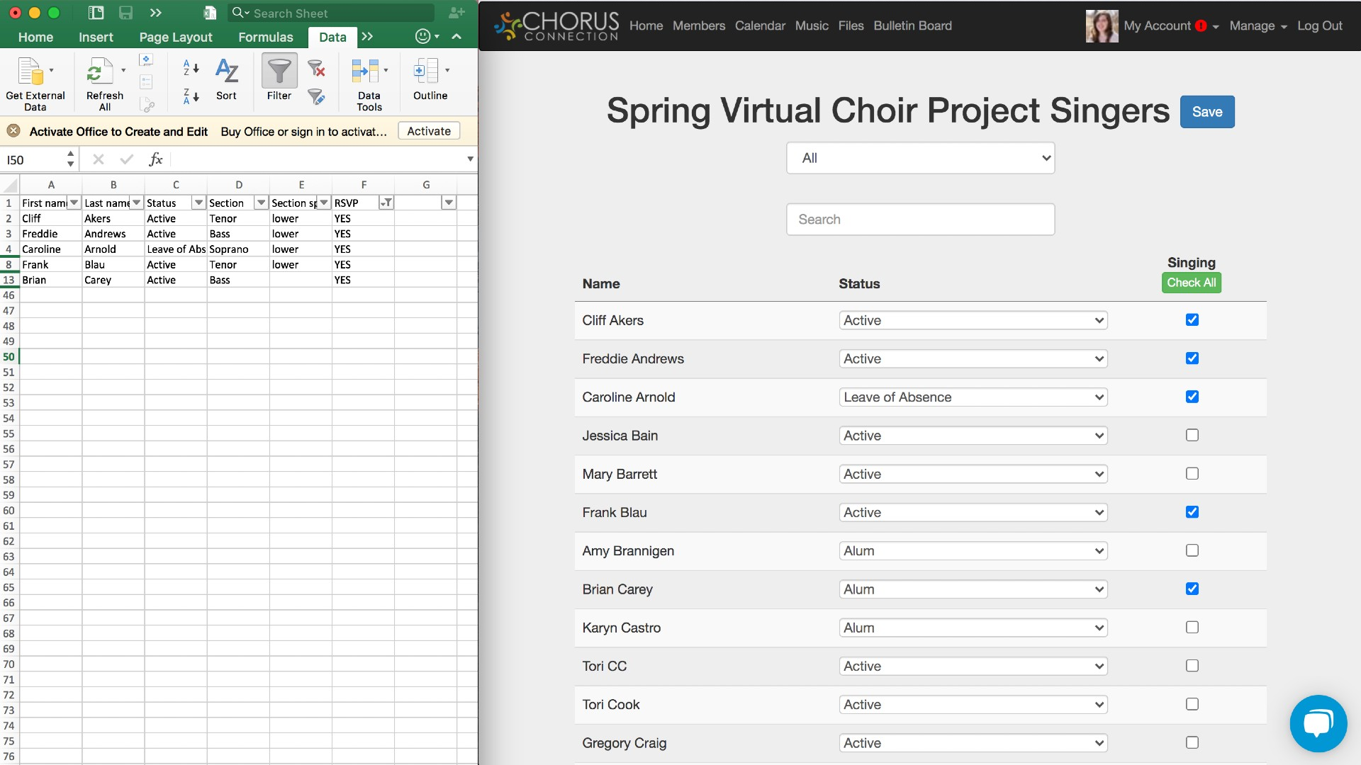 Manage Singer in Chorus Connection
