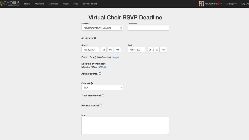 Virtual Choir RSVP Calendar Event Chorus Connection